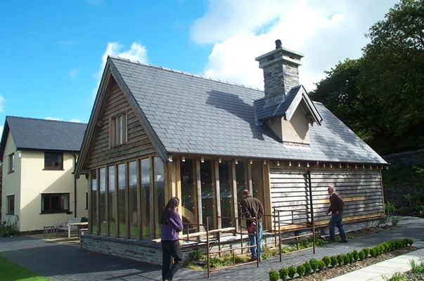 <b>Wales, UK</b><br>Timber framed extension in oak, built while employed by Carpenter Oak & Woodland Co.